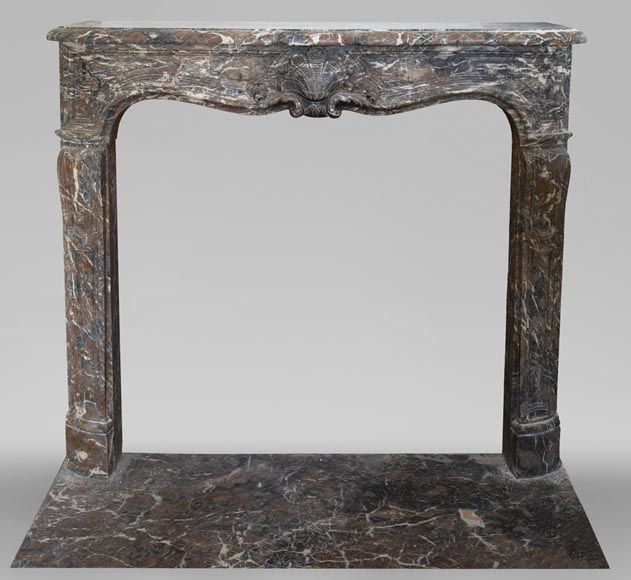 Antique Louis XV period fireplace in Rouge Royal marble-0