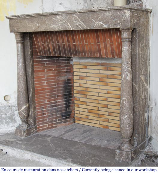 Antique Directoire style fireplace with detached columns-6