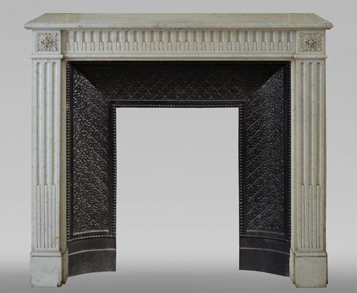 Antique Louis XVI style fireplace with rudentures, in Carrara marble-0