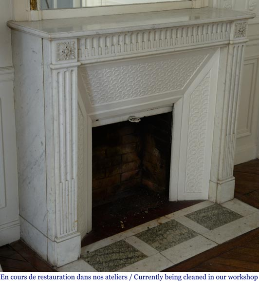 Antique Louis XVI style fireplace with rudentures, in Carrara marble-2