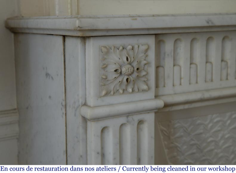 Antique Louis XVI style fireplace with rudentures, in Carrara marble-3