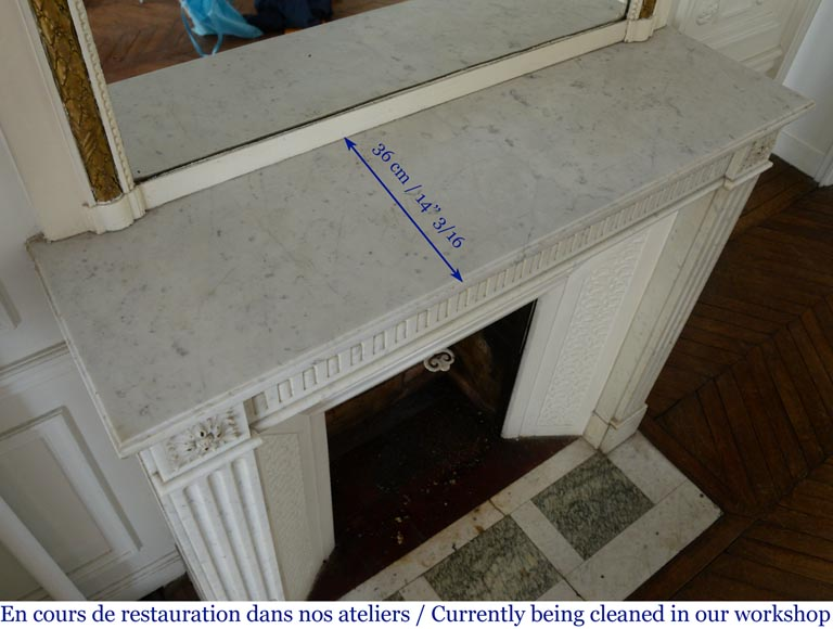 Antique Louis XVI style fireplace with rudentures, in Carrara marble-8