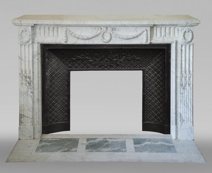 Antique Louis XVI style fireplace in Arabescato marble with garlands of laurel wreaths-0
