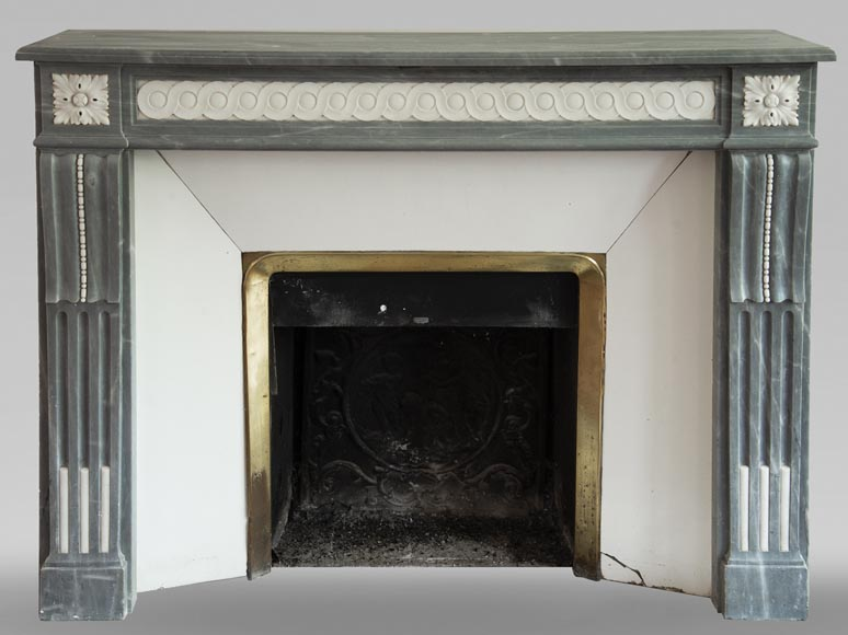 Antique Louis XVI style fireplace in Bleu Turquin marble and statuary marble-0