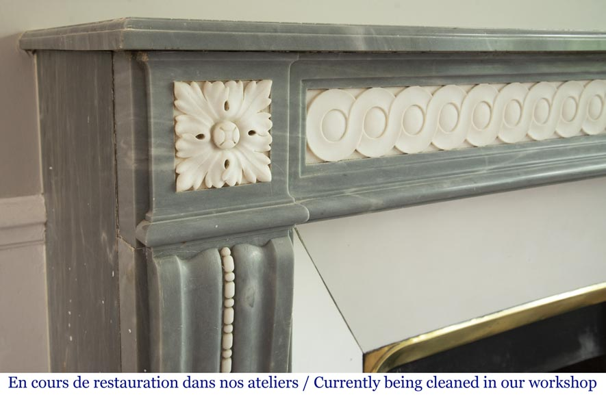 Antique Louis XVI style fireplace in Bleu Turquin marble and statuary marble-3