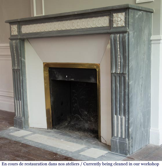 Antique Louis XVI style fireplace in Bleu Turquin marble and statuary marble-6