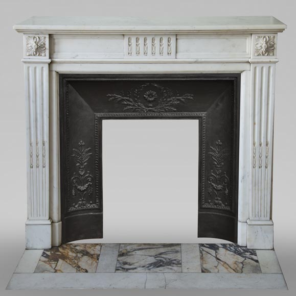 Antique Louis XVI style fireplace in semi-statuary white marble-0
