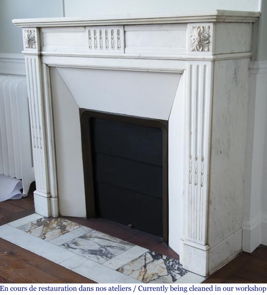 Antique Louis XVI style fireplace in semi-statuary white marble-6