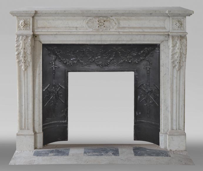 Antique Louis XVI style fireplace with acanthus leaf decoration in Carrara marble-0