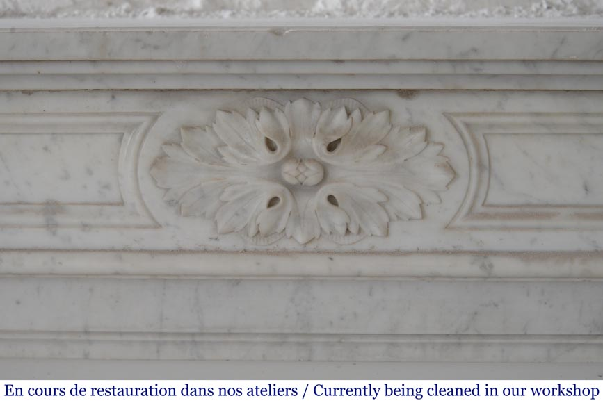 Antique Louis XVI style fireplace with acanthus leaf decoration in Carrara marble-1