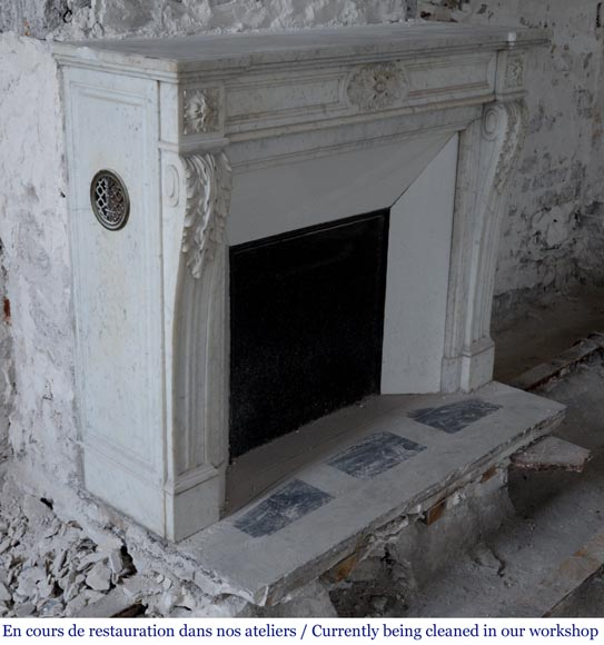 Antique Louis XVI style fireplace with acanthus leaf decoration in Carrara marble-2