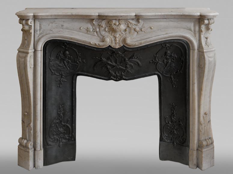 Antique Louis XV style fireplace in White Carrara marble-0