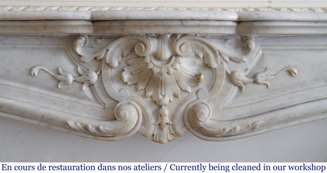 Antique Louis XV style fireplace in White Carrara marble-1