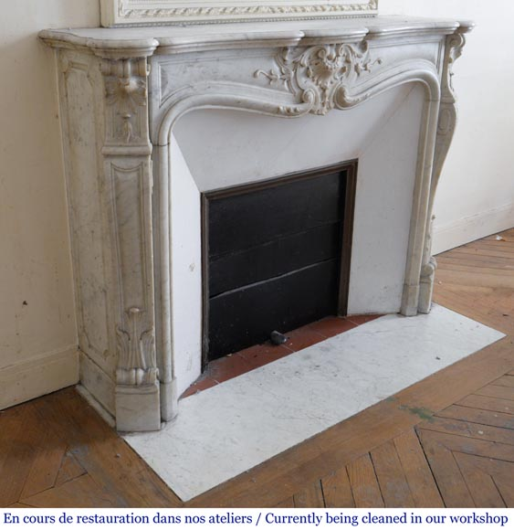 Antique Louis XV style fireplace in White Carrara marble-3