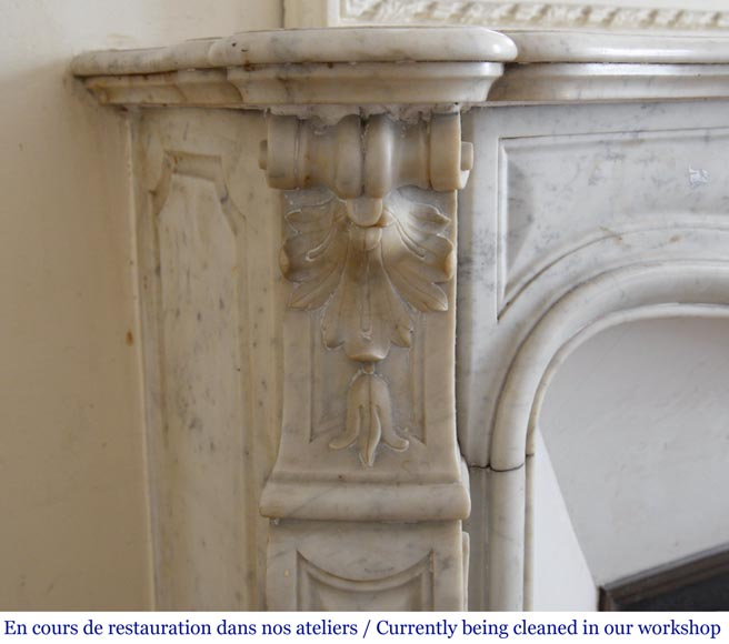 Antique Louis XV style fireplace in White Carrara marble-4