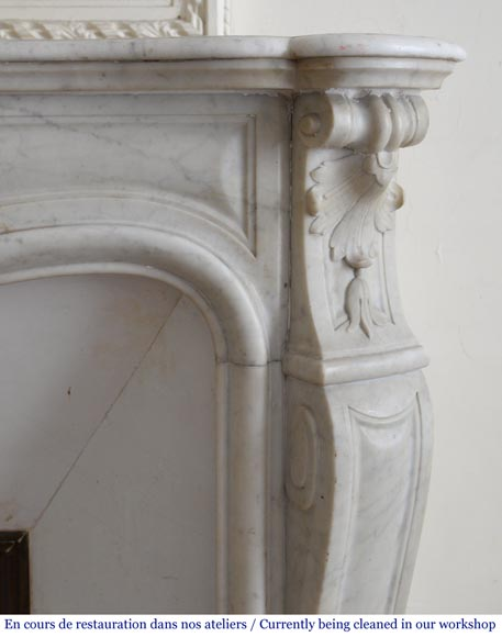 Antique Louis XV style fireplace in White Carrara marble-7