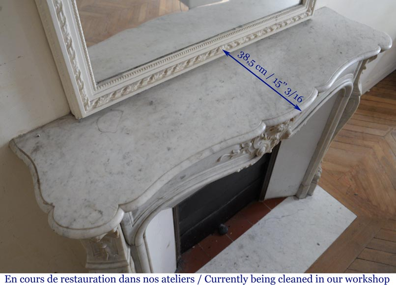Antique Louis XV style fireplace in White Carrara marble-9