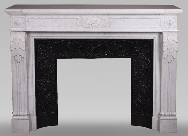 Antique Louis XVI style fireplace mantel with acanthus leaves in Carrara marble-0