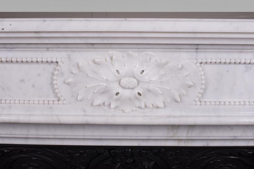 Antique Louis XVI style fireplace mantel with acanthus leaves in Carrara marble-1