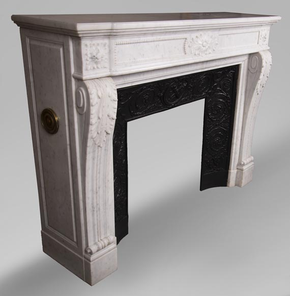 Antique Louis XVI style fireplace mantel with acanthus leaves in Carrara marble-2