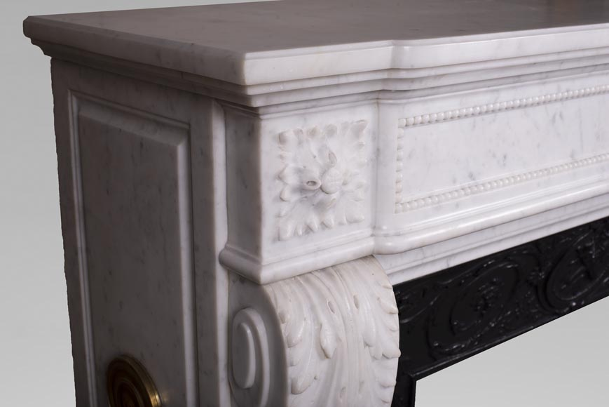 Antique Louis XVI style fireplace mantel with acanthus leaves in Carrara marble-3