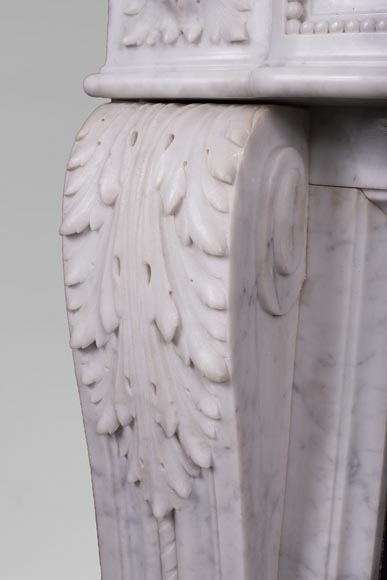 Antique Louis XVI style fireplace mantel with acanthus leaves in Carrara marble-4