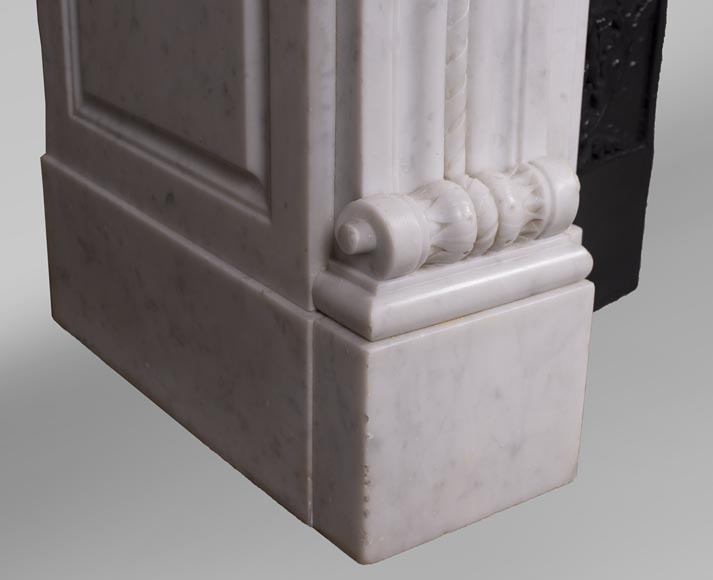 Antique Louis XVI style fireplace mantel with acanthus leaves in Carrara marble-5