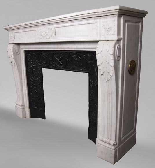 Antique Louis XVI style fireplace mantel with acanthus leaves in Carrara marble-6