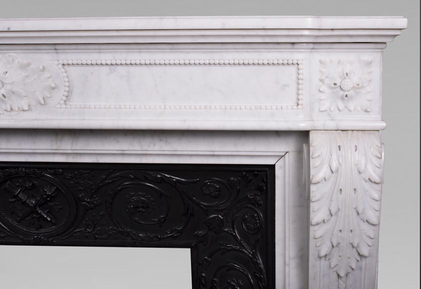 Antique Louis XVI style fireplace mantel with acanthus leaves in Carrara marble-7