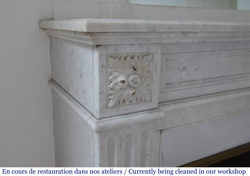 Antique Louis XVI style fireplace in Carrara marble-3