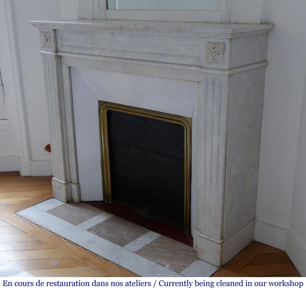 Antique Louis XVI style fireplace in Carrara marble-5