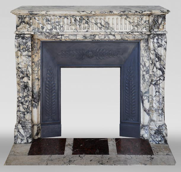 Antique Louis XVI style fireplace mantel with rudiments in Seravezza marble-0