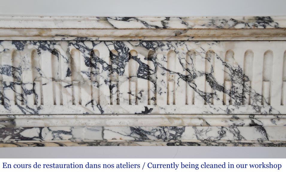 Antique Louis XVI style fireplace mantel with rudiments in Seravezza marble-1