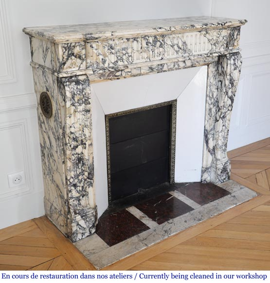 Antique Louis XVI style fireplace mantel with rudiments in Seravezza marble-2