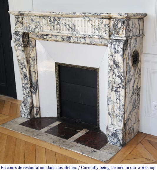 Antique Louis XVI style fireplace mantel with rudiments in Seravezza marble-5