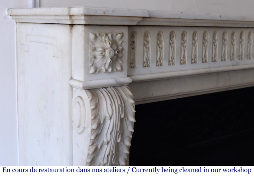 Antique Louis XVI style fireplace in Carrara Statuary marble-3
