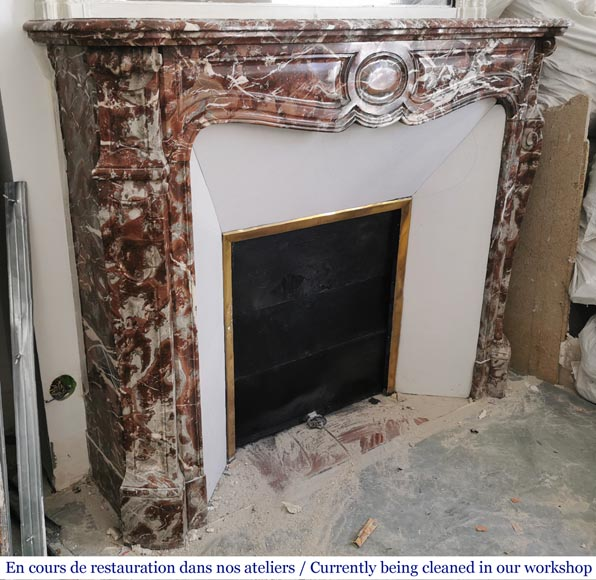 Antique Louis XV style fireplace, Pompadour in Rouge Royal marble-2