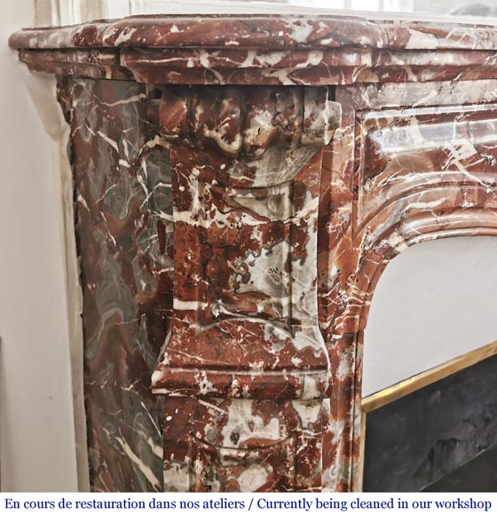 Antique Louis XV style fireplace, Pompadour in Rouge Royal marble-3