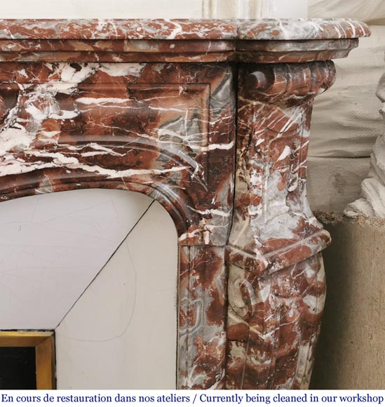 Antique Louis XV style fireplace, Pompadour in Rouge Royal marble-5