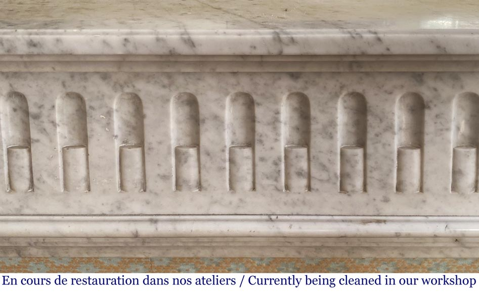 Antique Louis XVI style fluted fireplace in Carrara marble-1