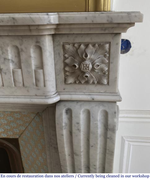 Antique Louis XVI style fluted fireplace in Carrara marble-5