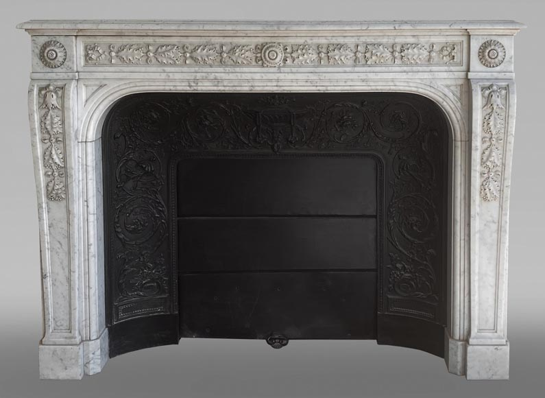 Antique Napoleon III style fireplace in Carrara marble carved with oak leaves-0