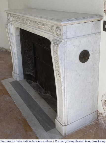 Antique Napoleon III style fireplace in Carrara marble carved with oak leaves-4