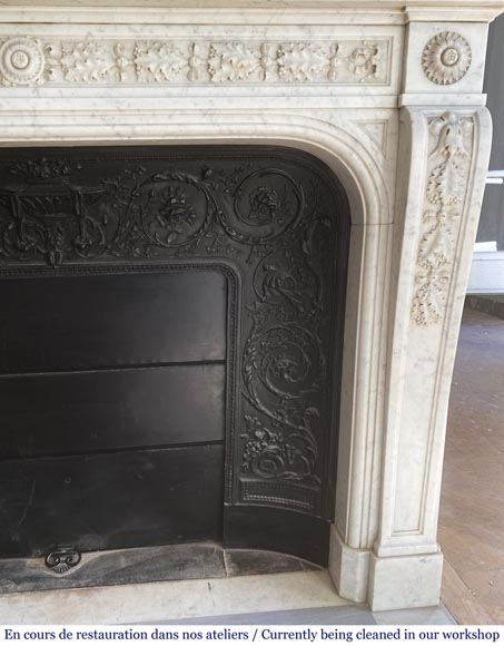 Antique Napoleon III style fireplace in Carrara marble carved with oak leaves-5