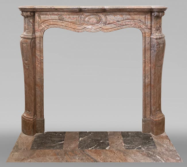 Antique Louis XV style Pompadour fireplace in Enjugerais marble-0