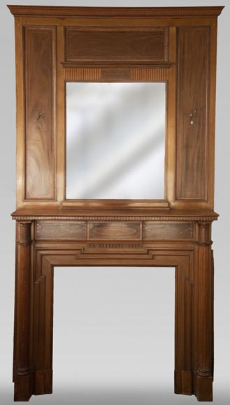 Antique Directoire style mahogany fireplace with its trumeau-0