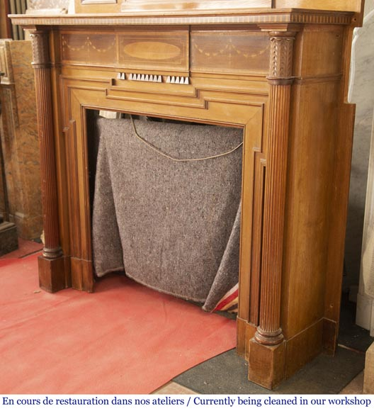 Antique Directoire style mahogany fireplace with its trumeau-10