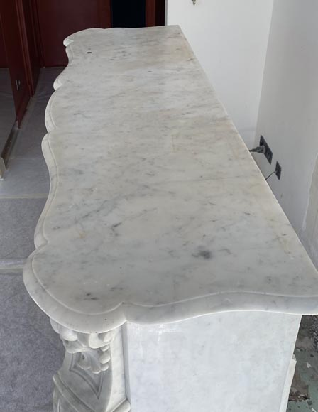 Antique Louis XV style fireplace in Carrara marble-6