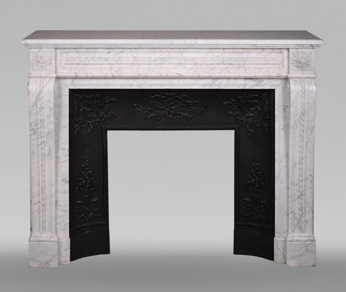 Antique Louis XVI style mantel in veined Carrara marble-0