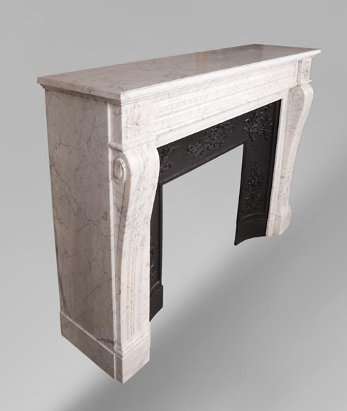 Antique Louis XVI style mantel in veined Carrara marble-2